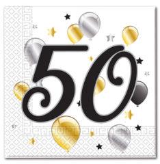 Prtički servieti s številko 50 za rojstni dan