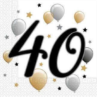 Prtički servieti s številko 40 rojstni dan