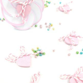 Okrasek za škatlico Srček roza